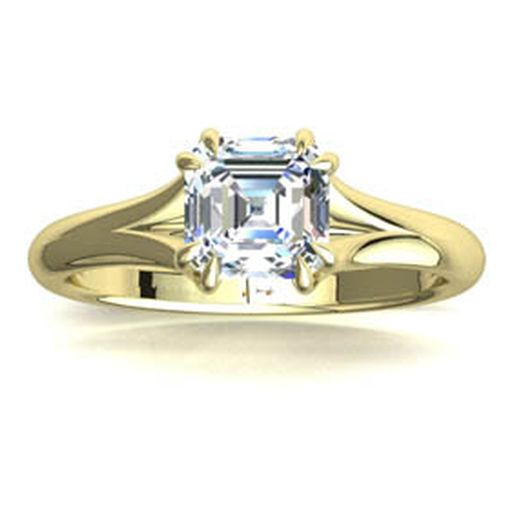 Dalia Solitaire Diamond Engagement Ring In 18ct Yellow Gold With Asscher Center Stone Gsd401ascy Gs Diamonds